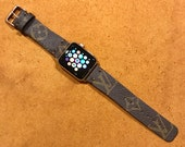 LV Apple Watch Band, Reshaped Louis Vuitton Apple Watch Band, Apple Watch Band 42mm, 38mm, Apple watch strap, iwatch band, iwatch strap