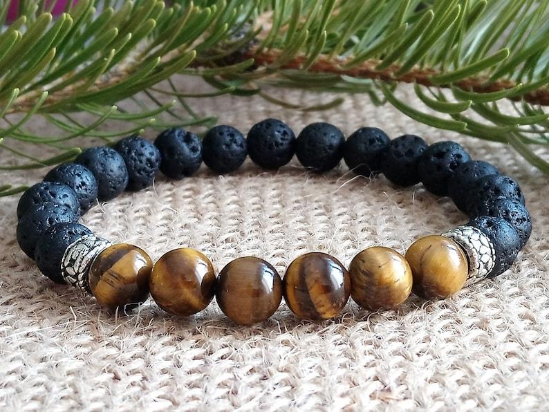 Energy Balance natural stone Men Bracelet Natural Black Onyx with Tiger eye