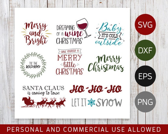 Christmas Word Art Lettering Cut File Bundle By Caidley