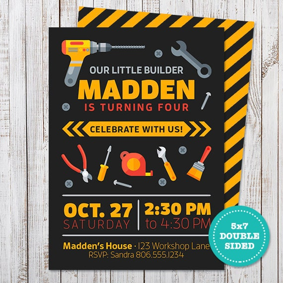 little builder birthday party invitation tool party invitation