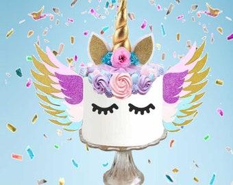 14ae99f949 Unicorn Cake Topper - unicorn birthday cake decorations - unicorn birthday  - unicorn cake - gold unicorn horn - unicorn party decor