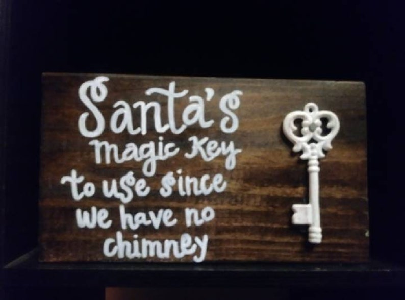 Wooden Father Christmas Key No Chimney Sign Hanging Decoration Reindeer Snowman