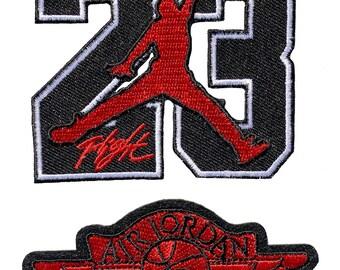 finest selection 0fc5c 449ab 23 Jordan Symbol Basketball Air Jordan NBA Iron  Sew On Patch (2 Piece Set)