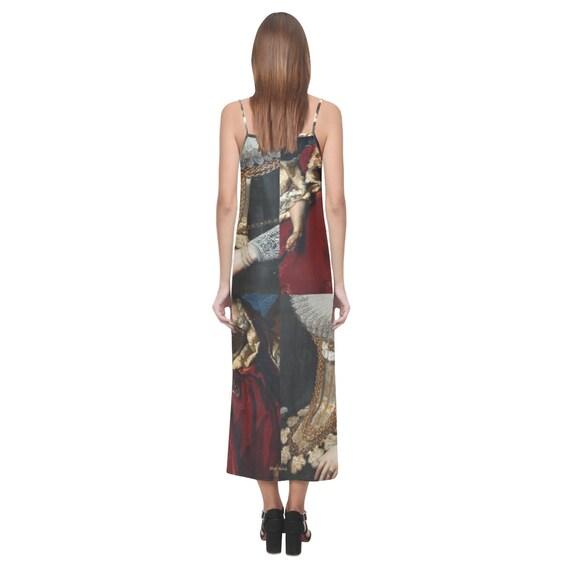 Long Silk Dress -(vintage casual for women linen 1950s Renaissance Victorian peasant viking gift formal maxi cocktail beach plus size sun)
