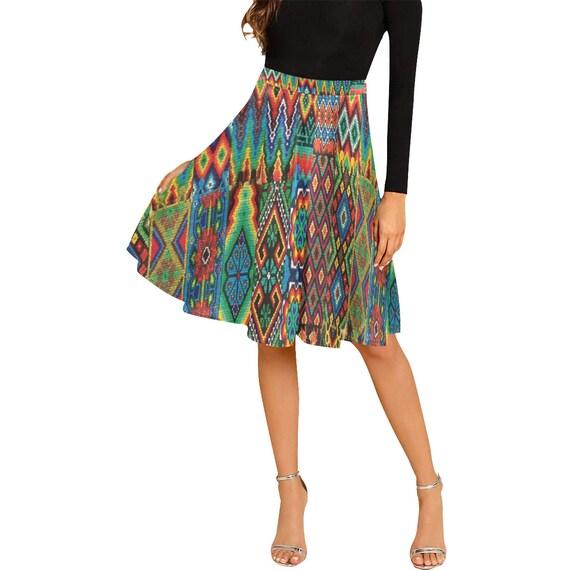 Pleated Midi Skirt -(box pleat bubble circular cowl gathered waisted miniskirt pencil peplum sarong tiered layered tulip yoke wrap vintage)