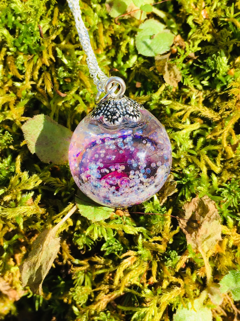 wish resin necklace Purple and Pink galaxy bubble resin necklace gifts for her
