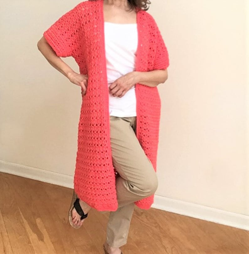 Crochet pattern for a long cardigan duster. Perfect for spring and summer. Lightweight sport yarn. Easy crochet for beginner.