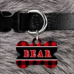 Dog, pet tags, plaid background design on bone shaped tag- customize with name and owner contact information