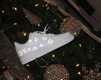 Custom LV print Air Force 1 white black b5cadf78c