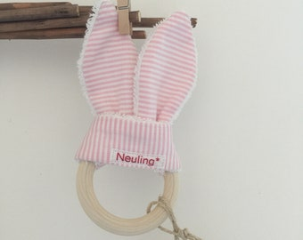 Greifling Rabbit Ears Pink/Stripes