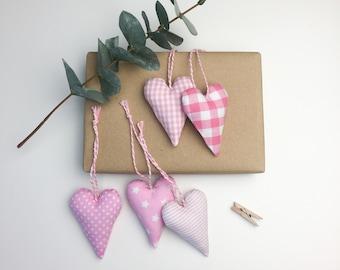 5 hearts pink fabric pendant