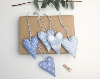 5 hearts light blue fabric pendant