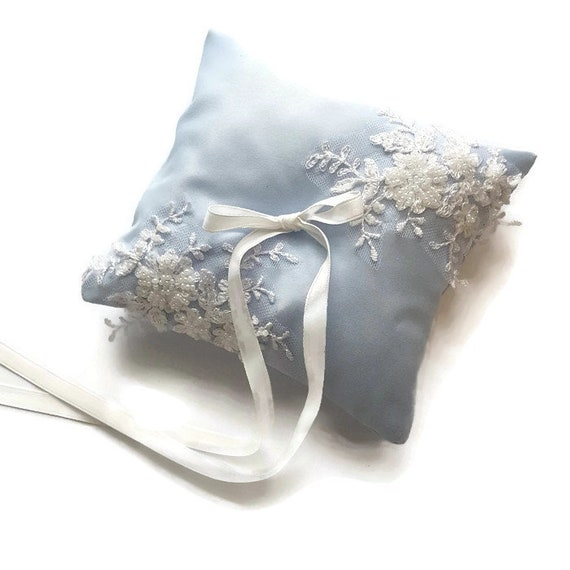 Something Blue Wedding Ring Pillow Winter Wedding Lace Bearer Ring Pillow Something Blue for Bridal Embroidered  Wedding Rings Pillow