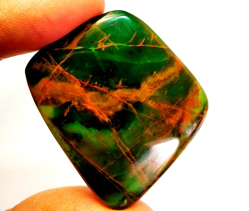 90 Cts  Natural Green Orbicular Fancy Jasper Cabochon Loose Gemstone