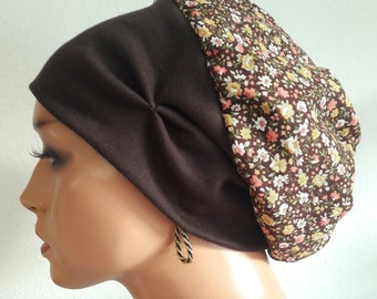 LUXUS balloon cap cap brown colored flowers 100% cotton vegetable CHEMO  alopecia a92589028cd2