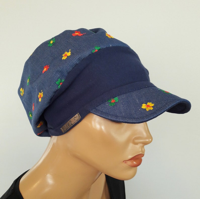 LUXURY WOMEN Umbrella Hat Balloon Hat Blue Jans Embroidered Flowers 100/% Cotton Chemo Alopecia Hair Loss