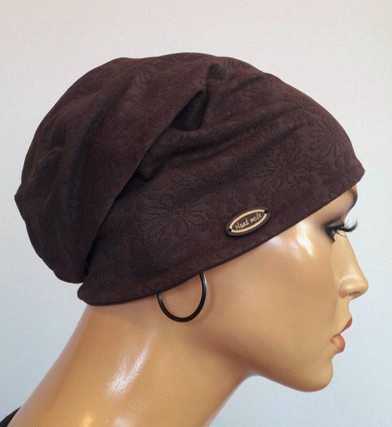 Attractive Ladies Balloon Hat Beanie Grey Brown Franzen CHEMO Alopecia