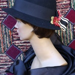 Black Cloche Hat with Red and Pink Flowers