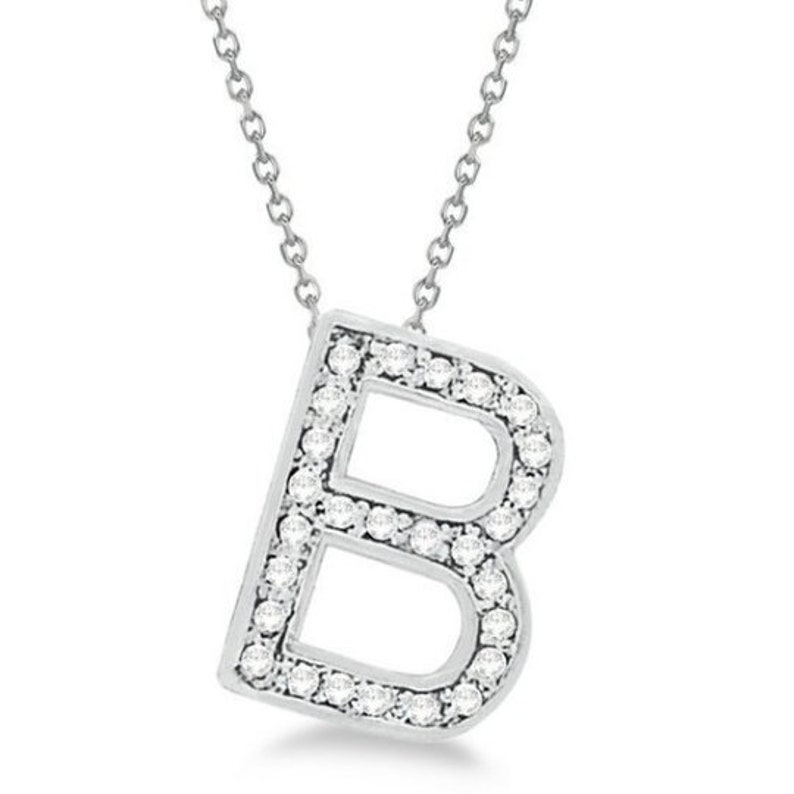 B Block Letter Alphabet Pendant Everyday Initial Letter Necklace Custom Diamond English Letter 14k White Gold Pave Diamond Initial Jewelry