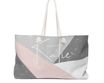 c3793c7ec2 Sac Weekender personnalisé : Couleur bloc personnalisé nom plage sac, avec  T-bas, avec votre propre nom et le Design. Parfait comme cadeau personnel