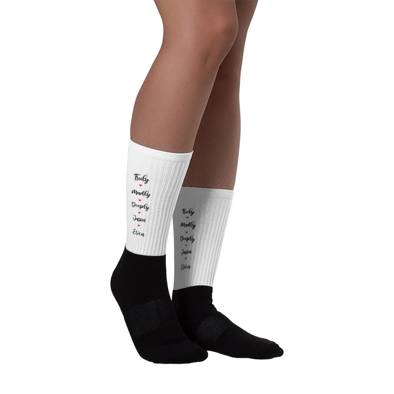 Madly Truly Deeply socks  with the name of you and your significant one Personalized gift for valentines day funny gift for valentine/'s