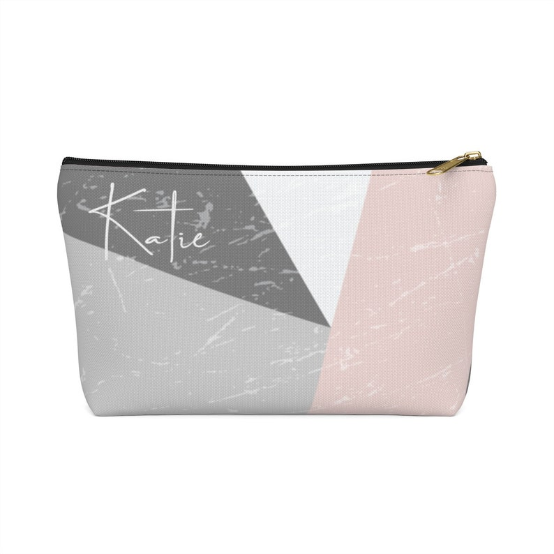 Personalized Monogrammed Accessory Pouch With T-Bottom For Makeup And More Perfect As A Personal Gift With Your Own Name And Design