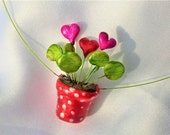 Chain red flower pot with Chinese lucky staler and heart modeling polymerclay hand painted unique