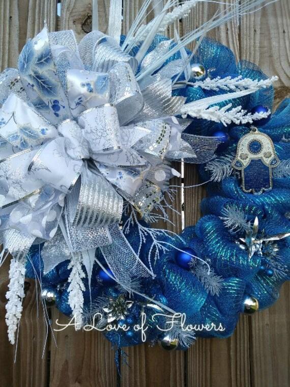 Hanukkah Blue White And Silver Wreath Hamsa Home Blessing Etsy