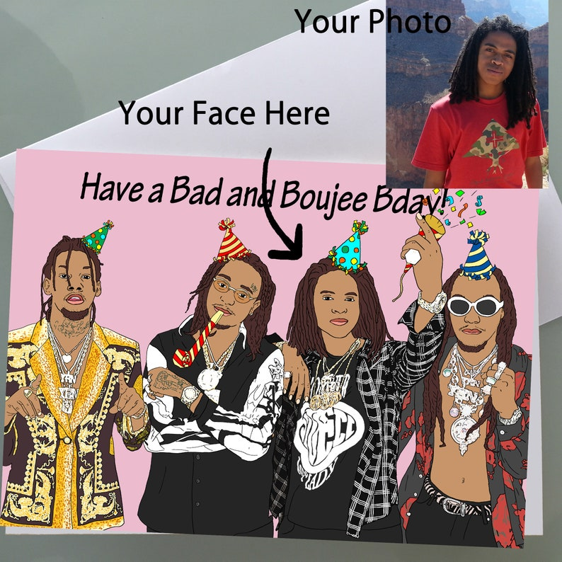 Custom Personalized Birthday Card With Migos Funny
