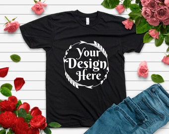 bfecec434 Bella Canvas 3001 Black Tshirt Mockup With Shoes and Jeans On Distressed  Wood Background Hi Resolution