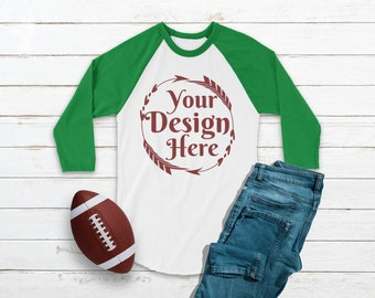 Download Free Football Raglan Shirt Mockup Green White Shirt | Flat Lay Winter Mockup | Blank Shirt | Football Mockup | Feminine Flat Lay | Baseball Tee PSD Template
