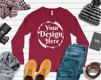 Download Free Bella Canvas 3501 Long Sleeve Cardinal Unisex TShirt Tee   Mock Up   Flat Lay   Outfit   Blank Shirt for Designs   Winter Mockup PSD Template