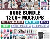 Huge Bundle Shirt Mockup Mega Bundle - Bella Canvas Next Level Gildan Anvil - 1200 T-Shirt Mockups, Tank Top Mockups, Onesie Mockup