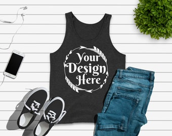 Download Free Bella Canvas 3480 Charcoal black Triblend Unisex Tank Flat Lay | Tank Flat Lay |Flat Lay | Basic Flat Lay | Mock Up, Blank Shirt for Designs PSD Template