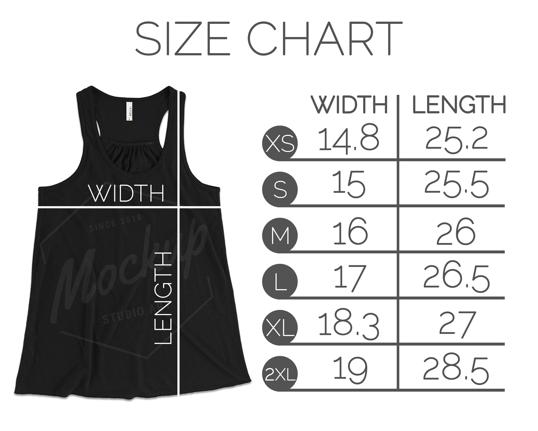 Bella Canvas 8800 Size Chart Women S Flowy Racerback Tank Flat Lay Mockup T Shirt Tank Size Chart Bella Canvas Size Chart