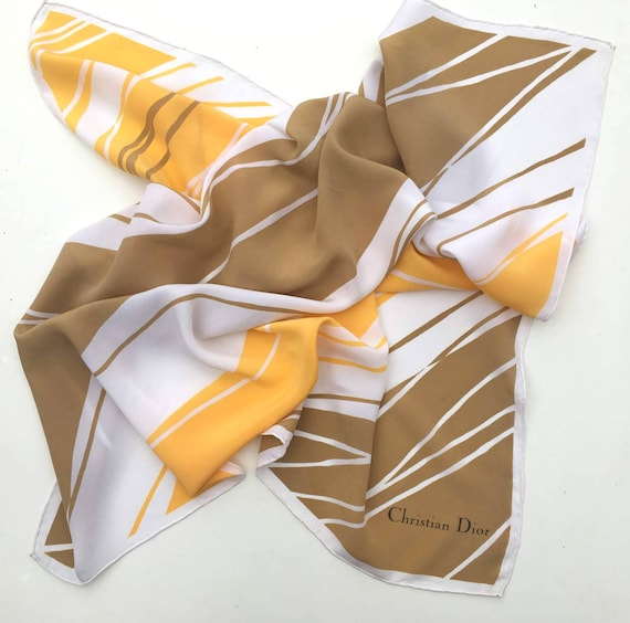 Vintage Christian Dior Silk Scarf, Yellow Scarf, D