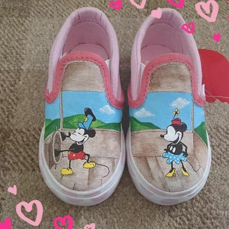 9bea39c99edb0 Size 5 (Kid's UK). Mickey and Minnie Steamboat Willie hand-painted vans.