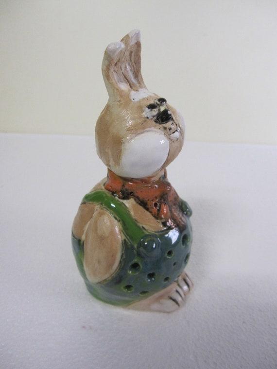 Keramik Hase Dekoration Garten Terrasse Bunny Augen Handarbeit Figur Skulptur