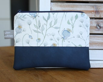 Cosmetic pouch S MOHN white blue faux leather cosmetic bag makeup bag small wallet
