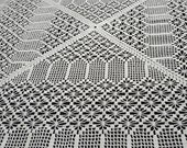 Vintage Handmade Square Crocheted Tablecloth, Overlay Table topper, White 59x59 inches 150x150 cm