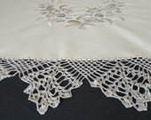 Luxurious Vintage 90s Handmade Round Tablecloth, Beige and Silver, 175cm 68.9 inches