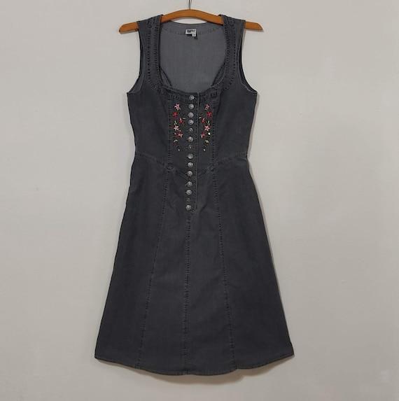 Vintage Cottagecore Modest Denim Tank Dress - image 1