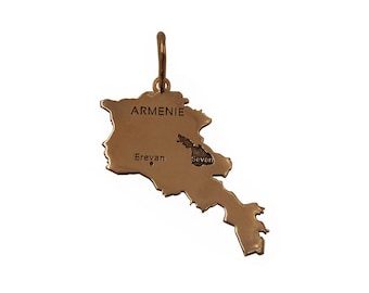Map of Armenia gold 18Kt homemade French.