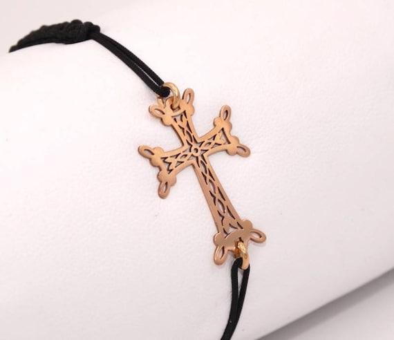 Cross bracelet openwork gold 18 Kt on braided codon white