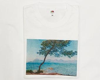 fee5a9b8 Claude Monet Vintage Retro Aesthetic Art T-Shirt Antibes Iconic Summer  T-Shirt White Black