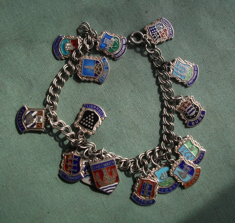 Cornwall and Devon Silver Bracelet with Silver Enamel Charms