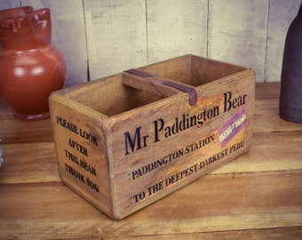 Antiques Mr Paddington Bear Vintage Style Handmade Wooden Storage Box With Ornate  Handle