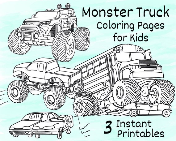 Monster Truck Coloring Pages For Kids 3 Printable Coloring Etsy