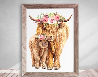 Highland Cow Wall Art, Highland Cow Print, Highland Cow Printable, Cow and Calf with Flower Crown Poster, Instant Digital Download