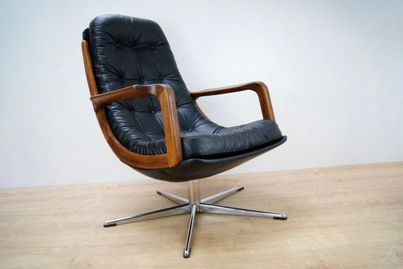 Superb Leather And Teak Swivel Chair 1960S Ibusinesslaw Wood Chair Design Ideas Ibusinesslaworg